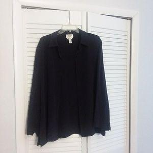 Talbots black silk blouse